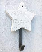 Stella in legno di recupero sbiancato su ordinazione con gancio appendiabito