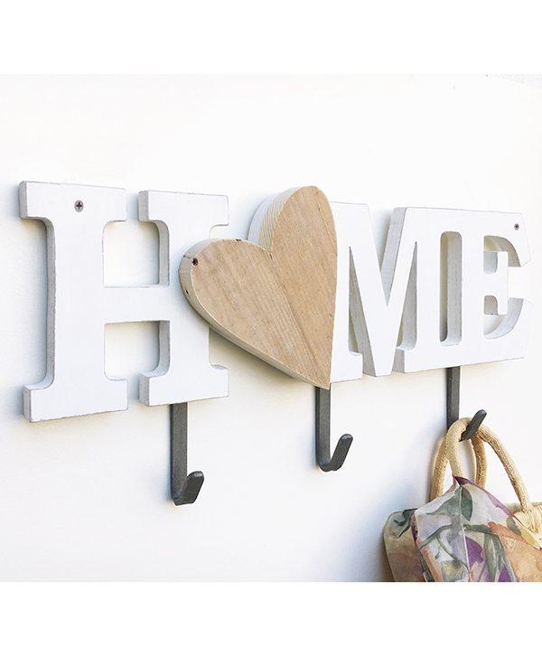 Scritta HOME in legno con cuore fatta a mano con ganci appendiabiti