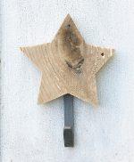 Stella in legno di recupero naturale con gancio appendiabito