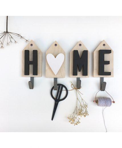 Appendiabiti personalizzabile con casette e scritta home in legno