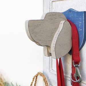 Porta guinzaglio in legno a forma di testa di cane