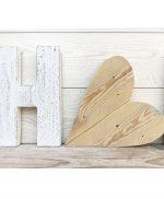Lettere e cuore per scritte personalizzate e originali in legno di recupero