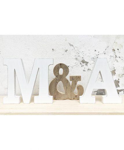 iniziali con & in legno per matrimonio