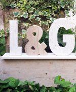 wedding-iniziali in legno con base