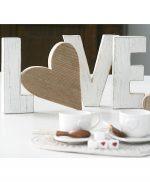Scritta LOVE in legno di recupero sbiancato fatto a mano