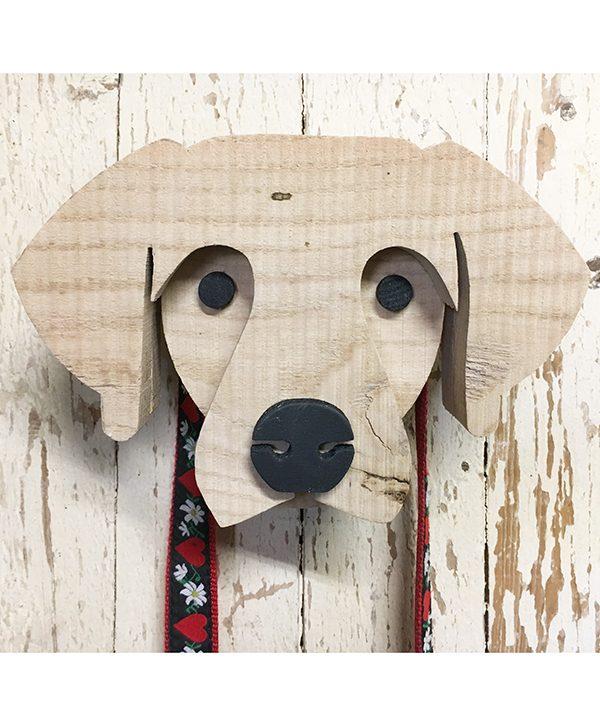 Portaguinzaglio a forma di testa di cane in legno di recupero rustico naturale