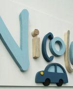 nome di bambino in legno di recupero
