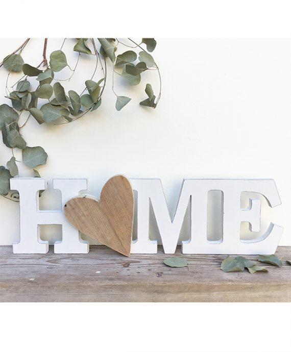 Scritta HOME con cuore in legno di recupero naturale o colorato