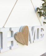 Scritta HOME con cuore in legno naturale originale e fatto a mano