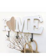 Appendiabiti con scritta in legno bianco e cuore in legno naturale
