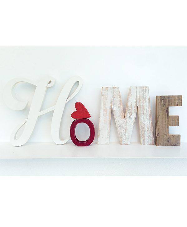 Scritta HOME con decorazione in legno naturale originale e fatto a mano