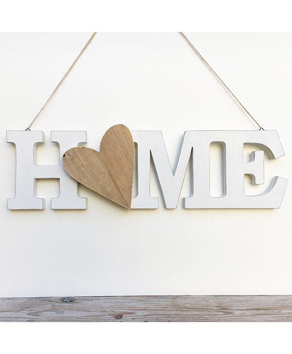Scritta HOME con cuore da appendere in legno naturale e colorato