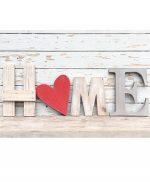 Scritta HOME shabby chic in legno colorato e naturale