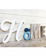 Scritta HOME in legno di recupero con pesce fatta a mano e personalizzabile