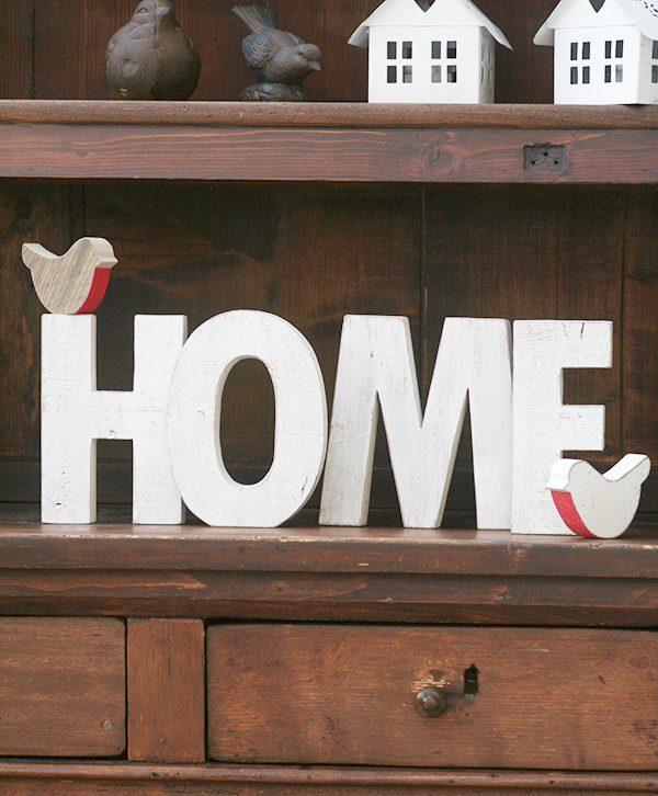 Scritta HOME in legno di recupero dipinto a mano i stile shabby