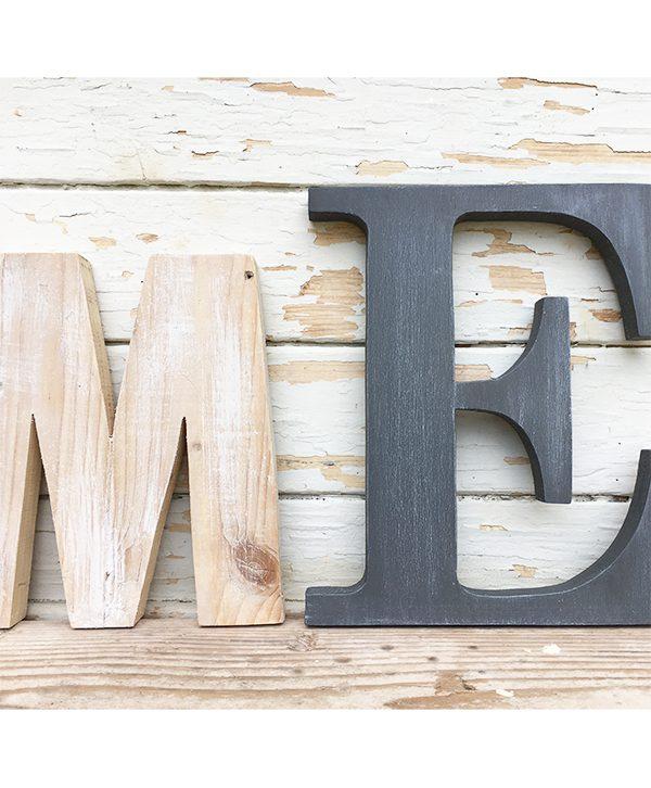 Lettere in legno naturale e colorato per scritta HOME