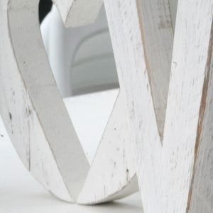 Lettere in legno di recupero sbiancato a mano artigianalmente