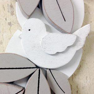 Uccellino in legno per ghirlanda