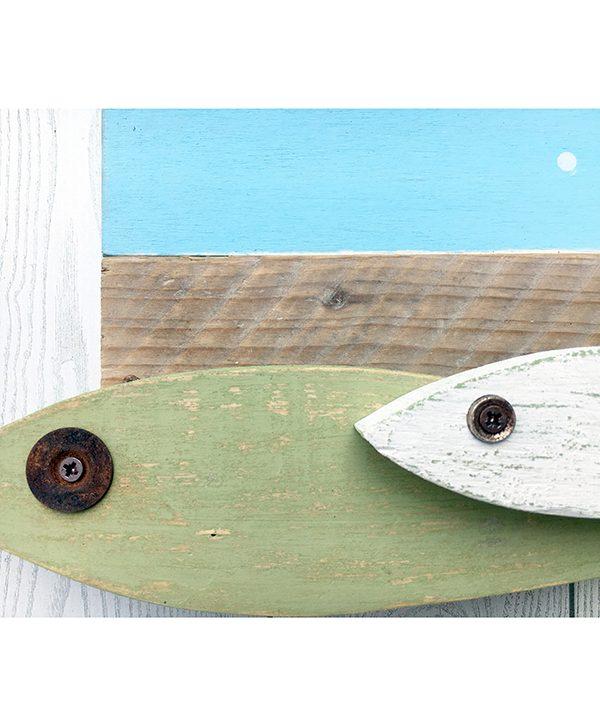 Orologio con pesci in legno di recupero colorati per casa al mare