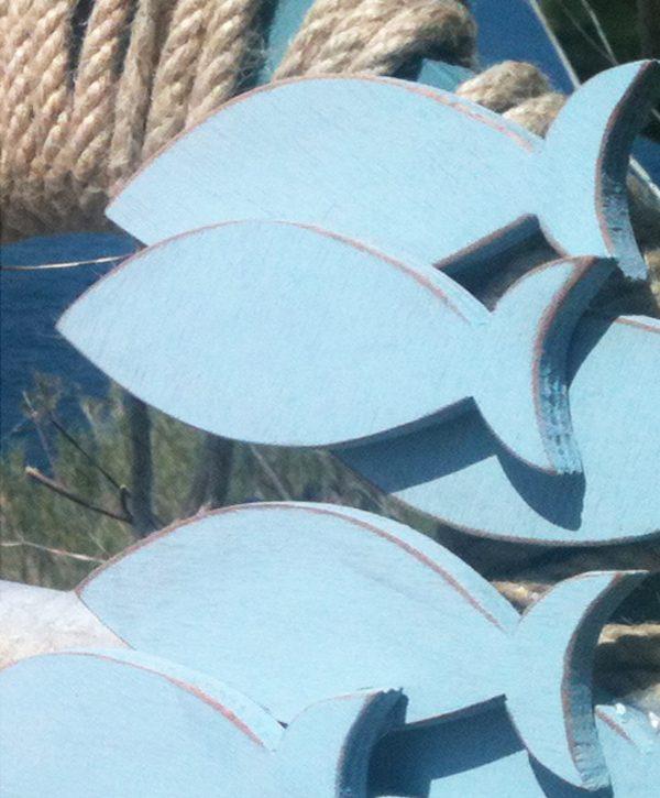 Acciughe in legno e corona in corda per casa al mare