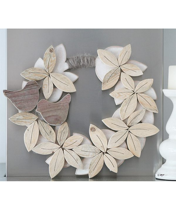 Ghirlanda personalizzabile in legno di recupero naturale fatta a mano