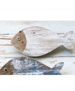 Pesce in legno colorato di bianco o nei colori a scelta