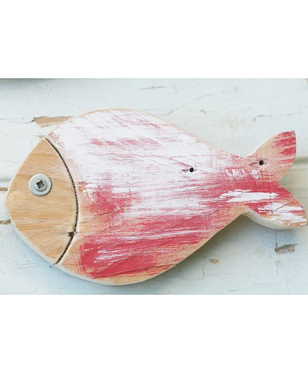 Pesce in legno di recupero per casa al mare dipinto di rosso