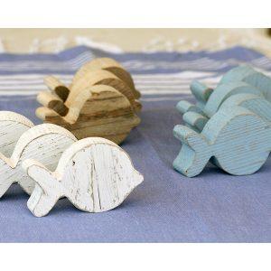 Pesci in legno di recupero dipinto o naturale per casa al mare