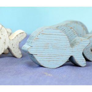 Pesce in legno di recupero dipinto in colore a scelta