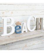 Scritta BEACH personalizzabile in legno di recupero fatta amano