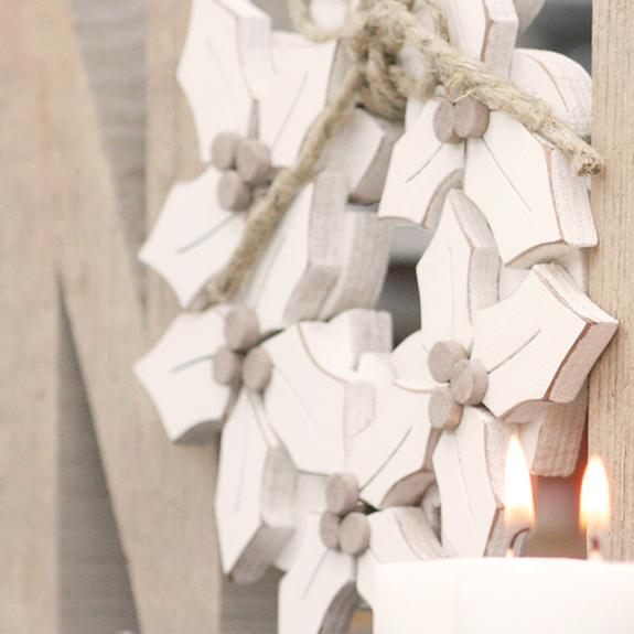 Ghirlanda di NATALE in legno personalizzabile stile shabby chic