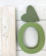 Lettere e cuore in legno dipinto in colore a scelta