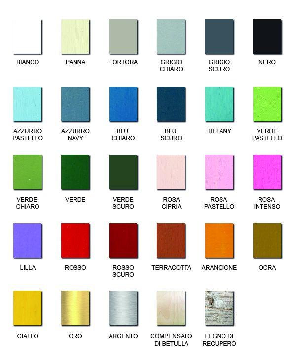 Scelta dei colori disponibili di Nuvole di Legno