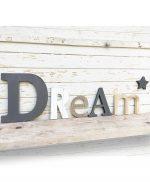 Scritta Dream personalizzabile in legno con stella in legno colorato