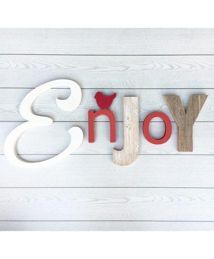 Scritta Enjoy in legno naturale e colorato