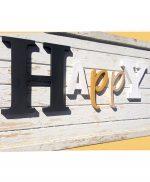 Scritta Happy in legno personalizzabile con colori a scelta