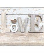Scritta Love in legno di recupero naturale o colorato a scelta