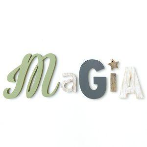 Scritta Magia con stella in legno di recupero naturale o dipinto a scelta