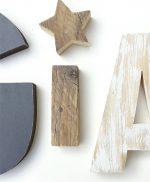 Lettere in legno con stella per comporre scritte