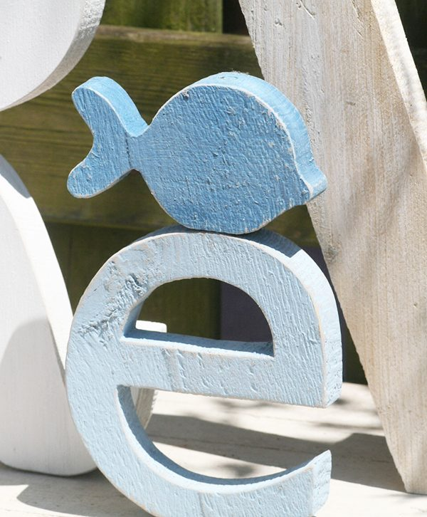Lettera in legno con pesce in legno per scritta