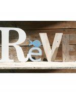 Scritta Reve in legno di recupero con pesce in stile shabby
