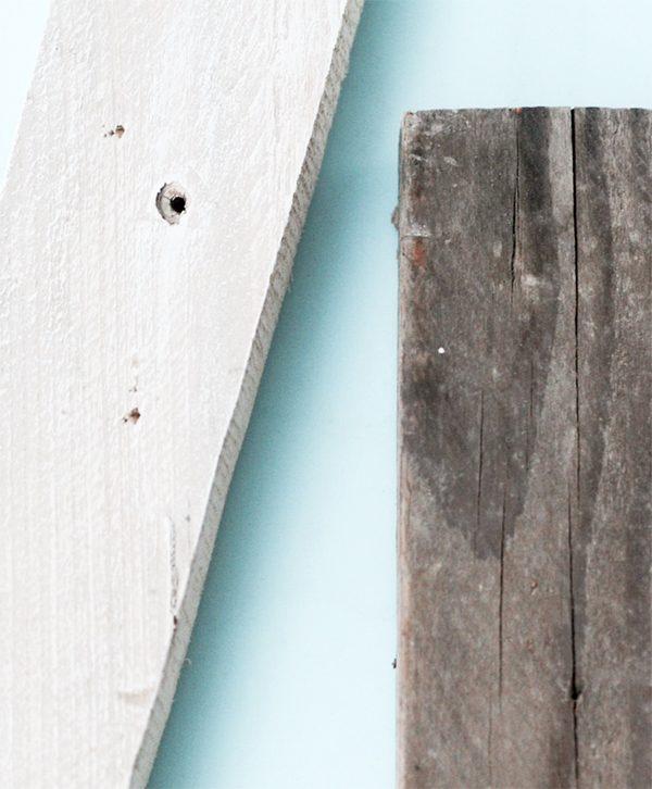 Lettere in legno di recupero naturale e sbiancate in stile shabby