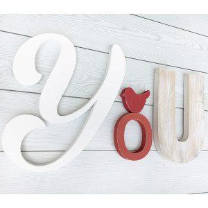 Scritta You da appendere in legno personalizzabile a scelta