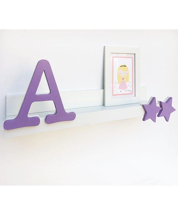 Mensola in legno con iniziale nome bambina personalizzato
