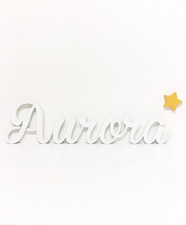 Nome di bambina in legno dipinto con stella