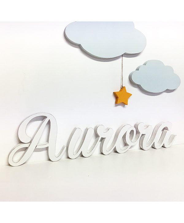 Nome bambini in legno con nuvole e stella per decorare la cameretta