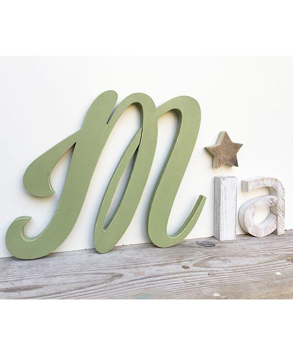 Lettere in legno per nome di bambina con stella