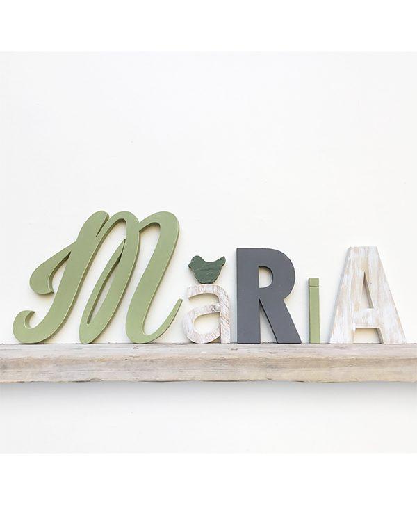 Lettere in legno per nome di bambina con uccellino