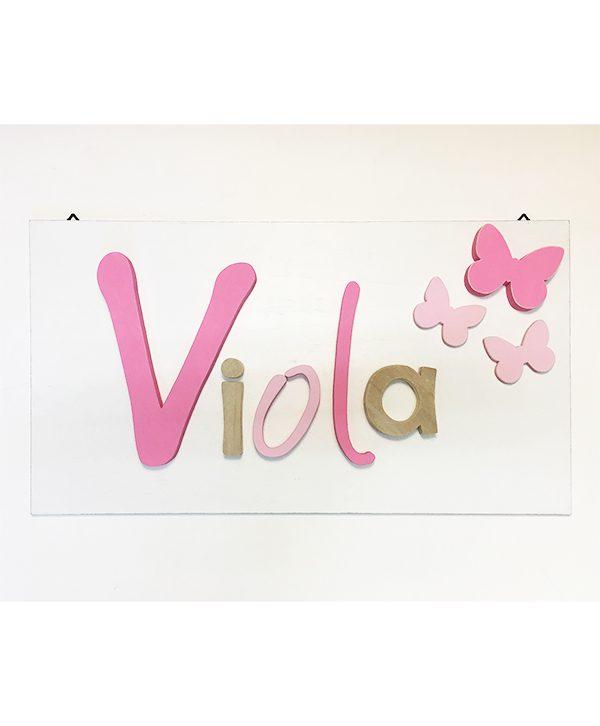 Quadretto in legno colorato personalizzabile nei colori con nome bambina e decorazioni