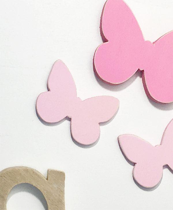 Quadretto in legno colorato personalizzabile con nome bambina e decorazioni